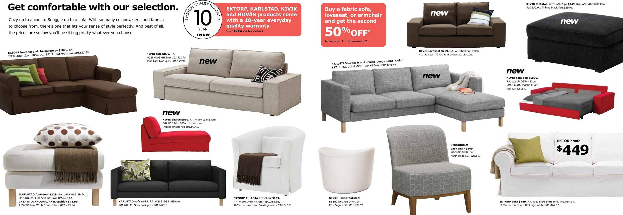 CANADA 50% off your 2nd fabric sofa purchase at IKEA fort