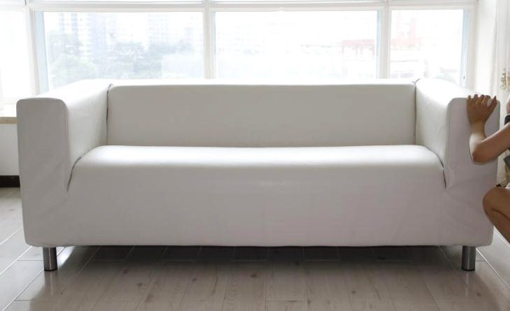Leather slipcover for ikea klippan sofa for Ikea klippan