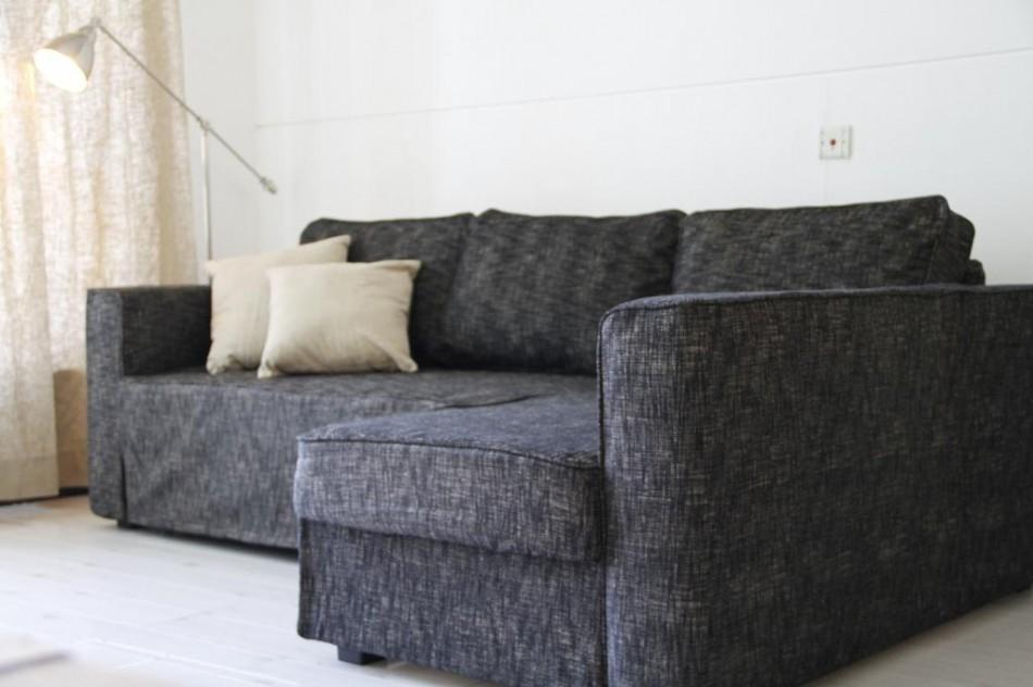 Manstad Sofa Bed Slipcover In Nomad Black Comfort Works