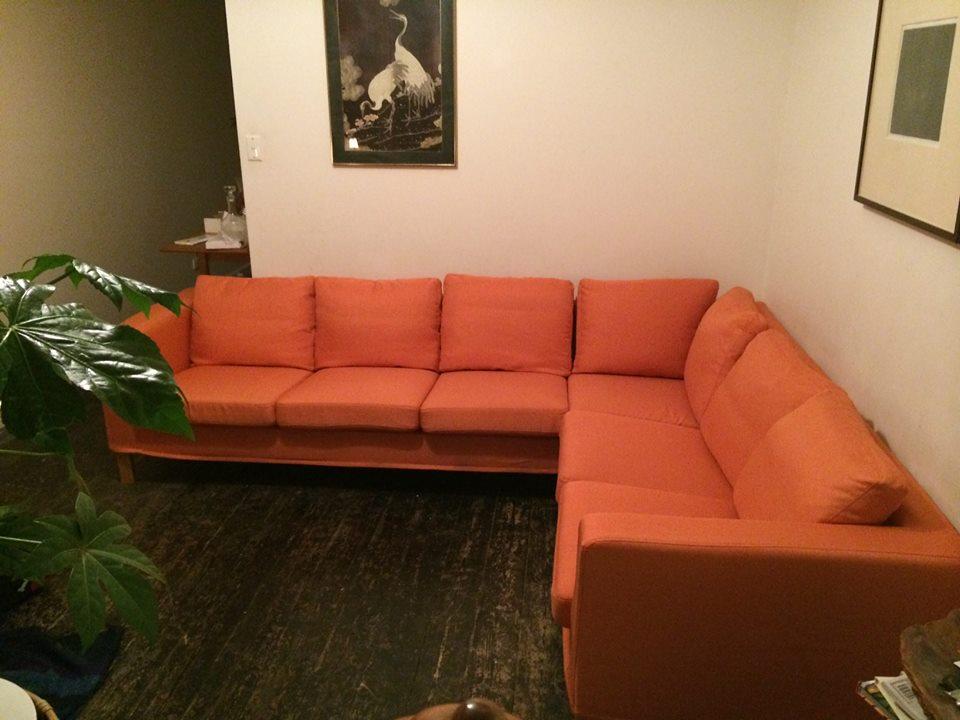 Karlanda Corner Sofa Slipcover in Kino Orange