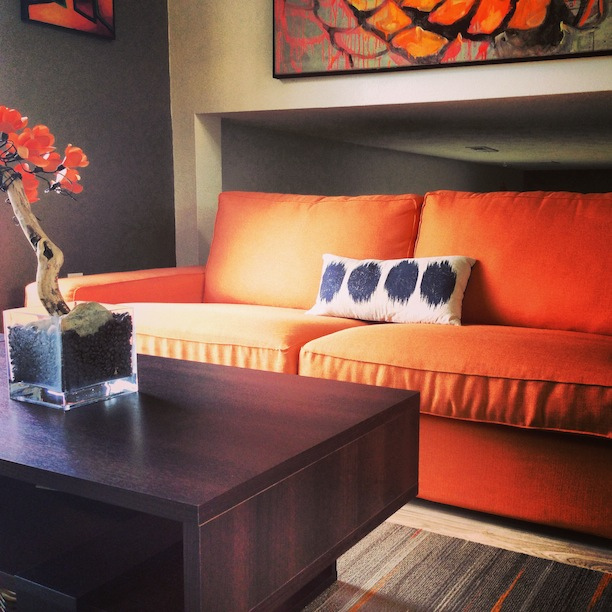 Kivik 3 Seater In Kino Orange Fabrics