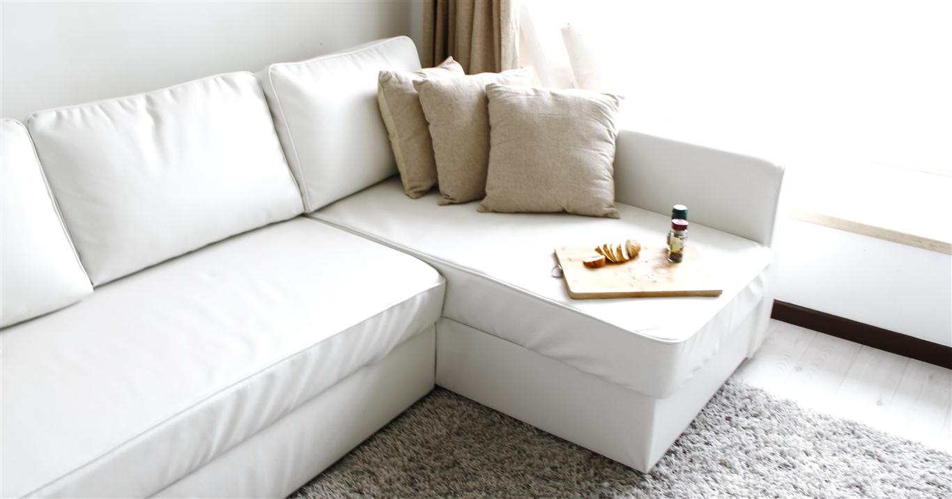 Manstad Sofa Bed Slipcover In Modena White Bycast Leather