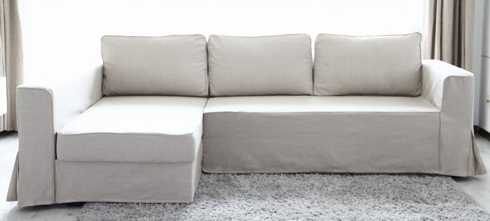 Loose fit linen manstad sofa slipcovers now available for Chaise couch slipcover