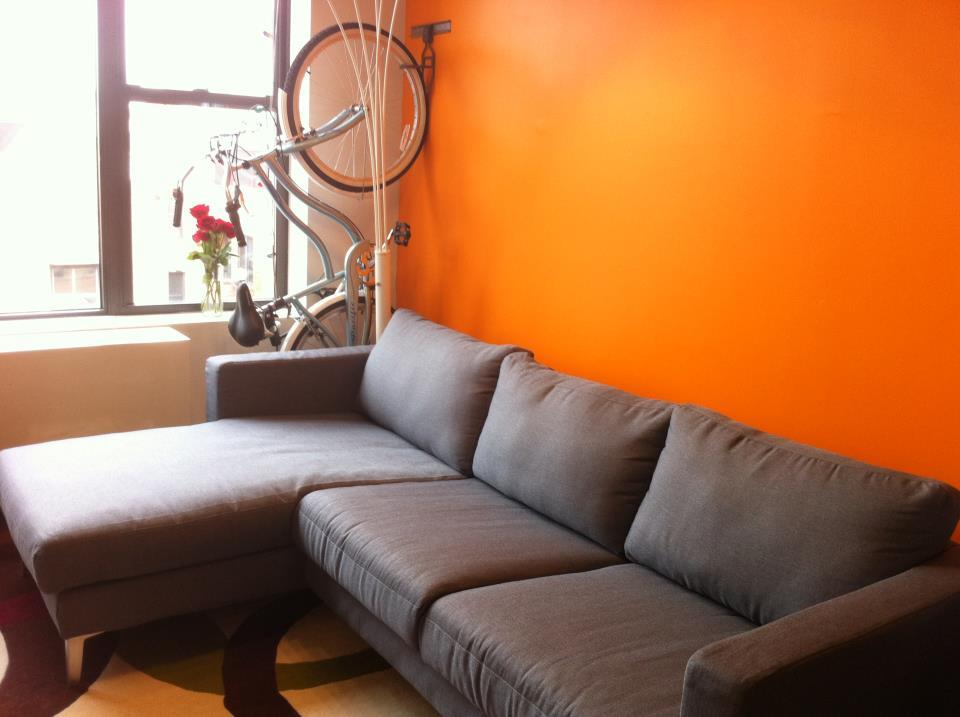 Hermes Orange Walls And Comfort Works Karlstad Sofa In Kino Grey