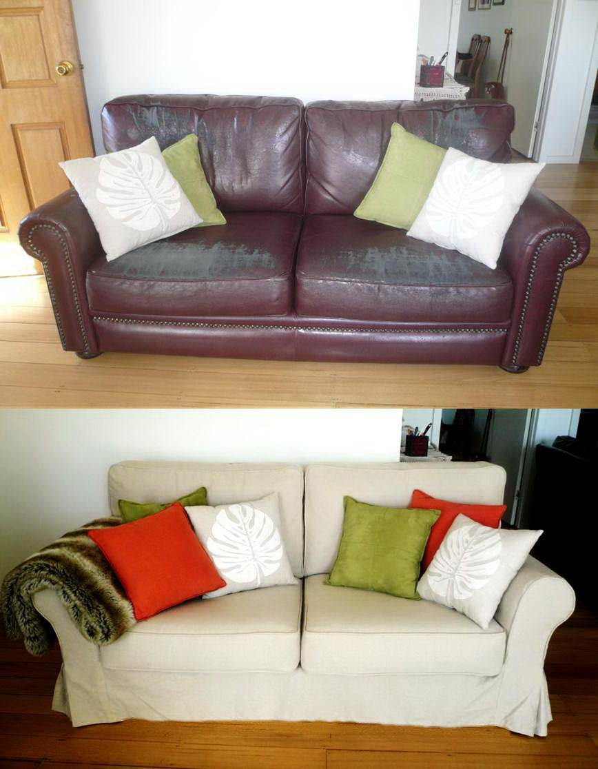 Bespoke Sofa Slipcover Before & After fort Works