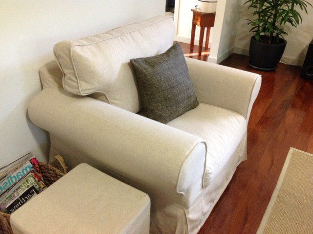 Ektorp armchair in Lino Vintage slipcover Comfort Works : Kendall Bridges Ektorp Armchair Linen slipcover 5 e1369728635836 from www.comfort-works.com size 640 x 478 jpeg 71kB