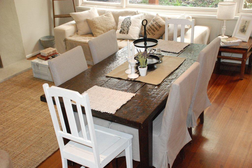 Sofa and Dining Chairs After Photo with Comfort Works' Slipcovers