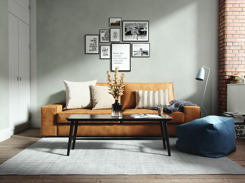 Leder Sofa Gallerie Wand für gemütliche Einrichtung