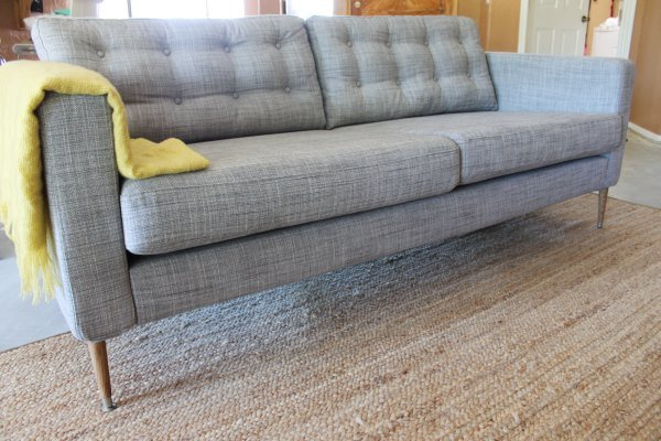 Tufted Ikea Karlstad Sofa In Nomad Grey Covers With Custom Legs