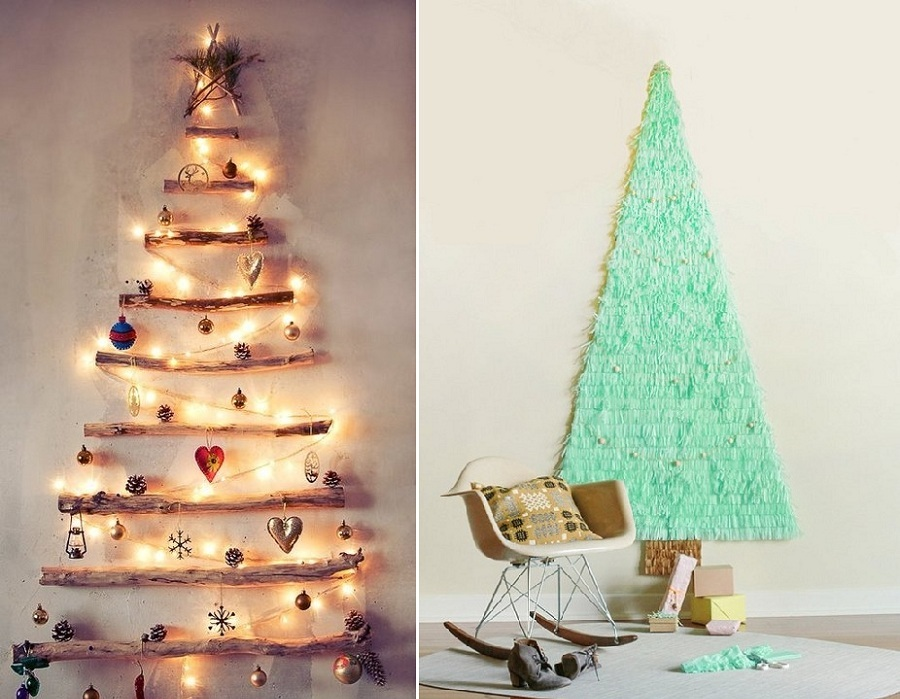 Unique driftwood and tinsel tree