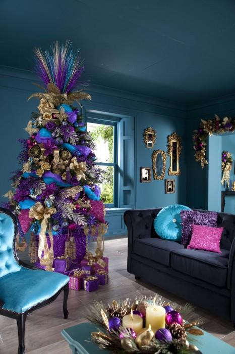 purple gold blue living room