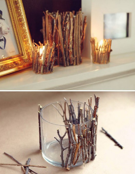 Give your tea-lights some nature, with some twigs and glue