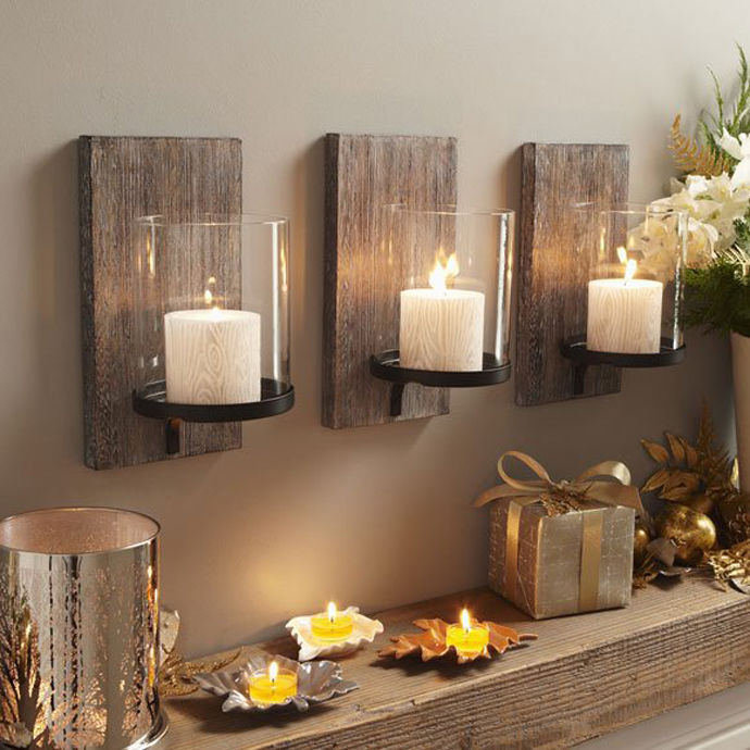 Wooden candle holder on your wall