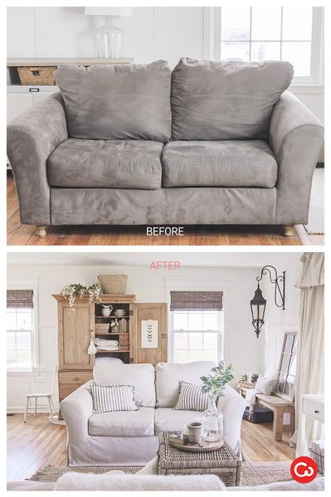 Comfort Works Custom Slipcover Before & After