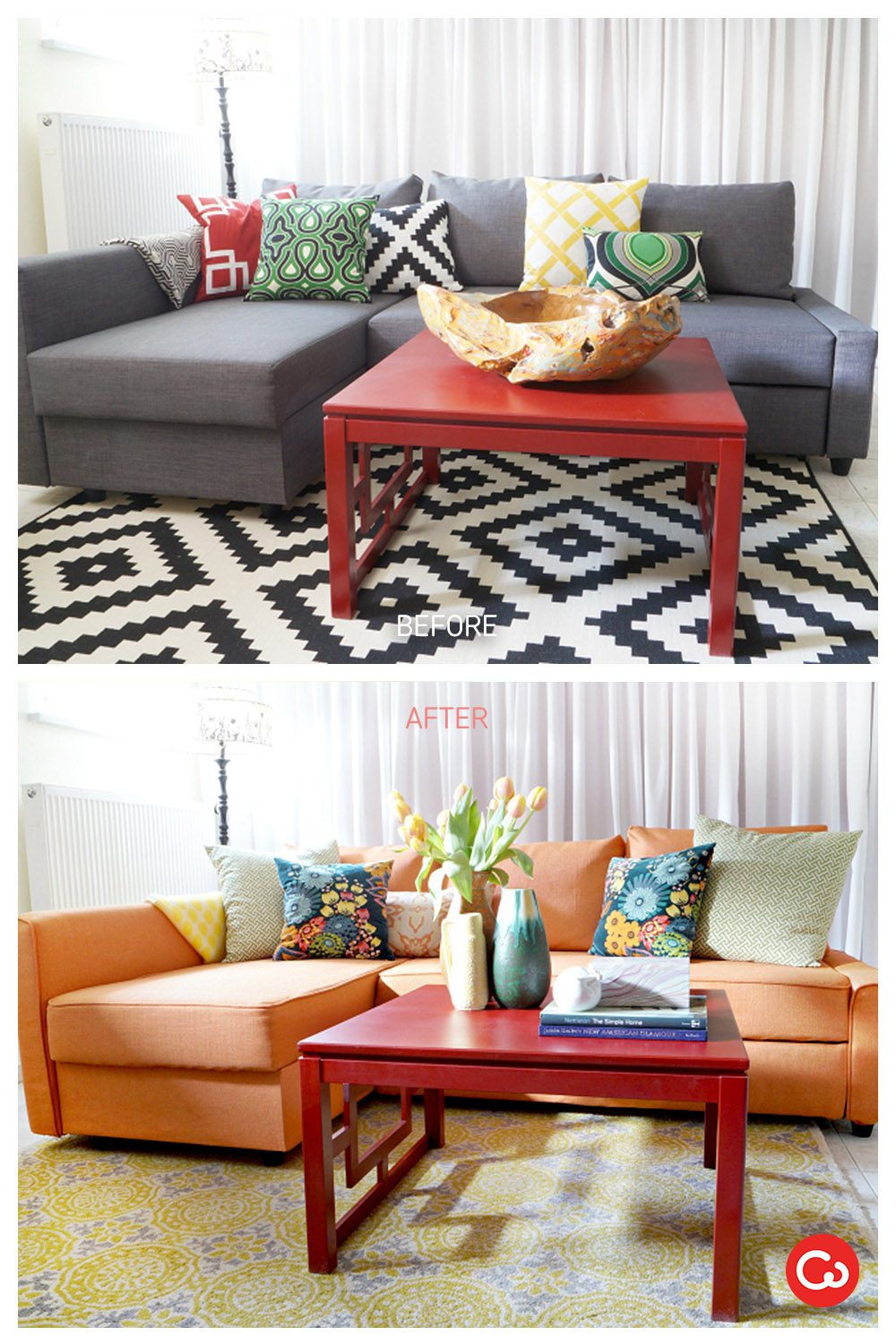 Comfort Works Custom Friheten Slipcover Before & After in Kino Orange