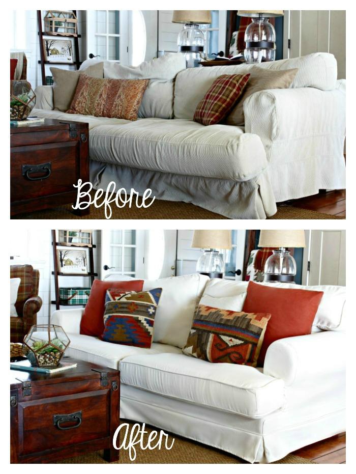 Comfort Works Custom Ekeskog Slipcover Before After In Herringbone Ivory