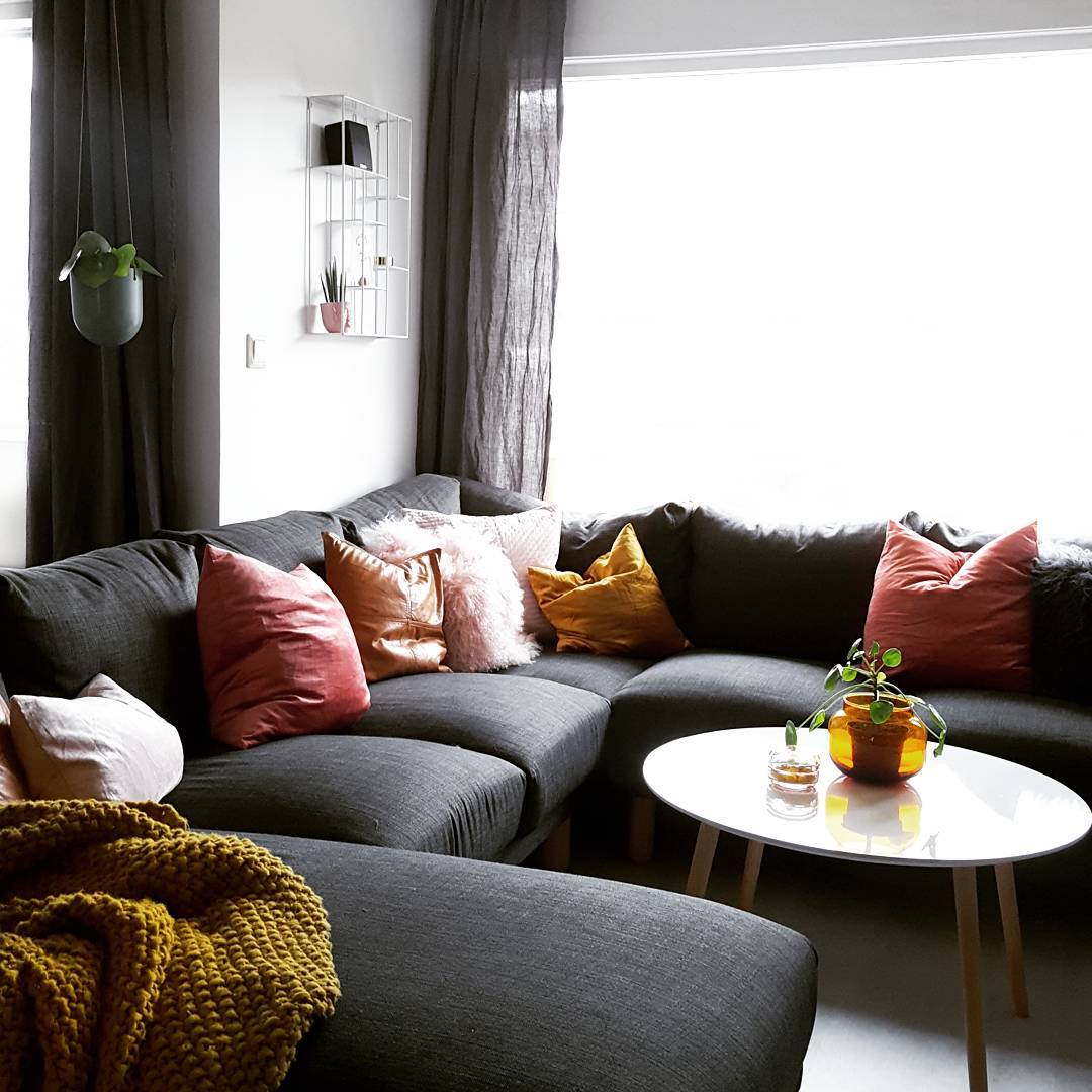 Norsborg Sectional Sofa Covers in Kino Shadow fabric by Comfort Works