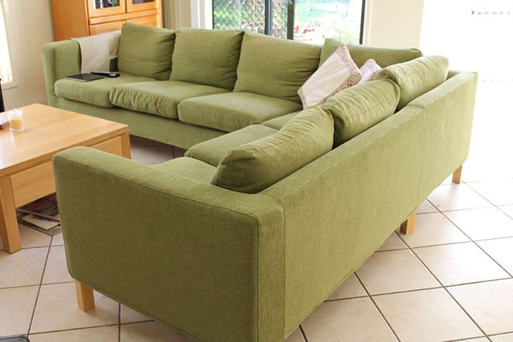 Karlanda Sectional Sofa Covers In Nomad Green Fabric By Comfort Works