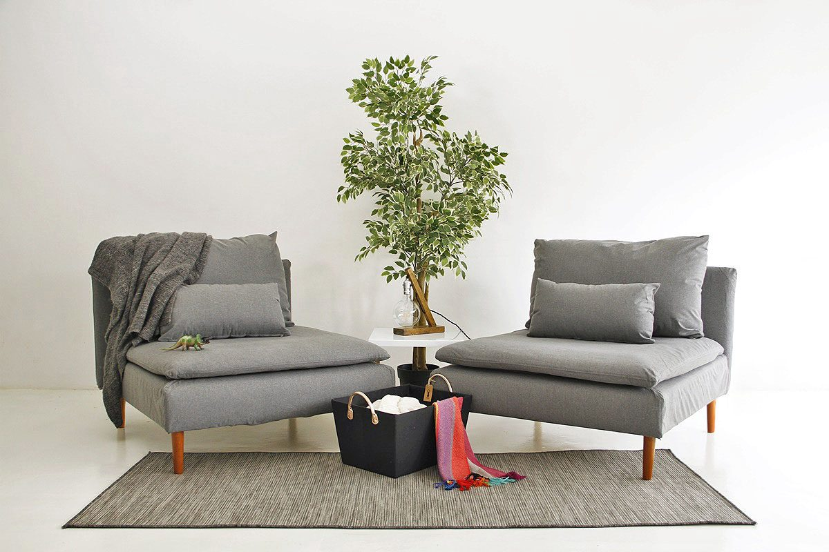 Slipcovered IKEA Soderhamn Armchairs in Shire Coal by Comfort Works