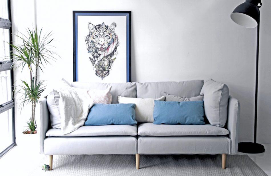IKEA Soderhamn Sofa Slipcovered in Herringbone Pebble by Comfort Works