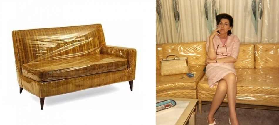 Vinyl covered yellow sofa with and without a smoking lass