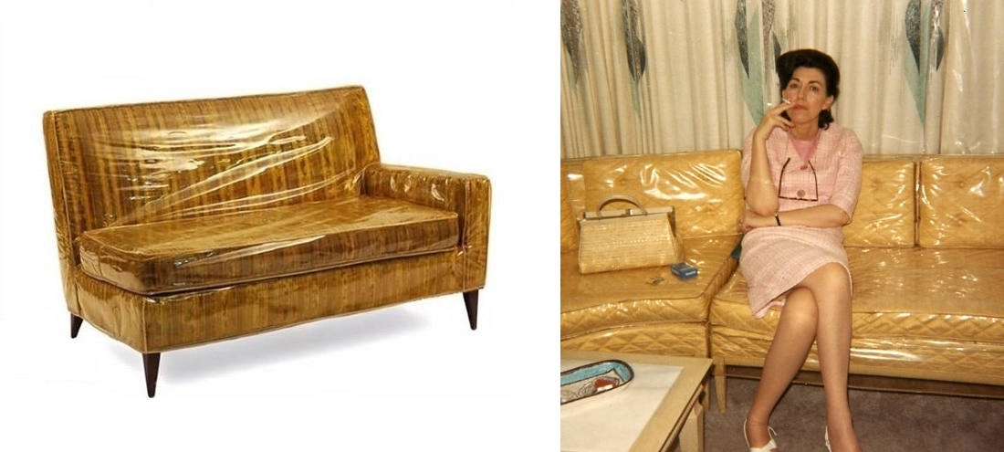 Superb Vinyl Covered Yellow Sofa With And Without A Smoking Lass. Slipcovers ...