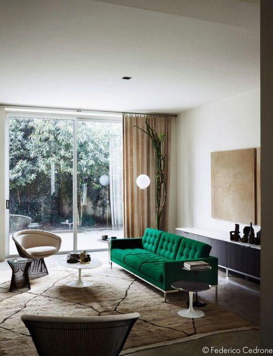 Green Velvet Sofa Cover Slipcover Midcentury Modern