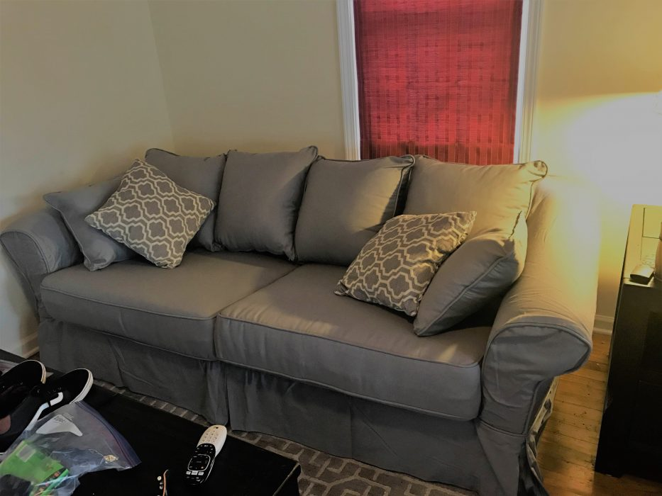 A newly reslipcovered Backamo Sofa Bed.