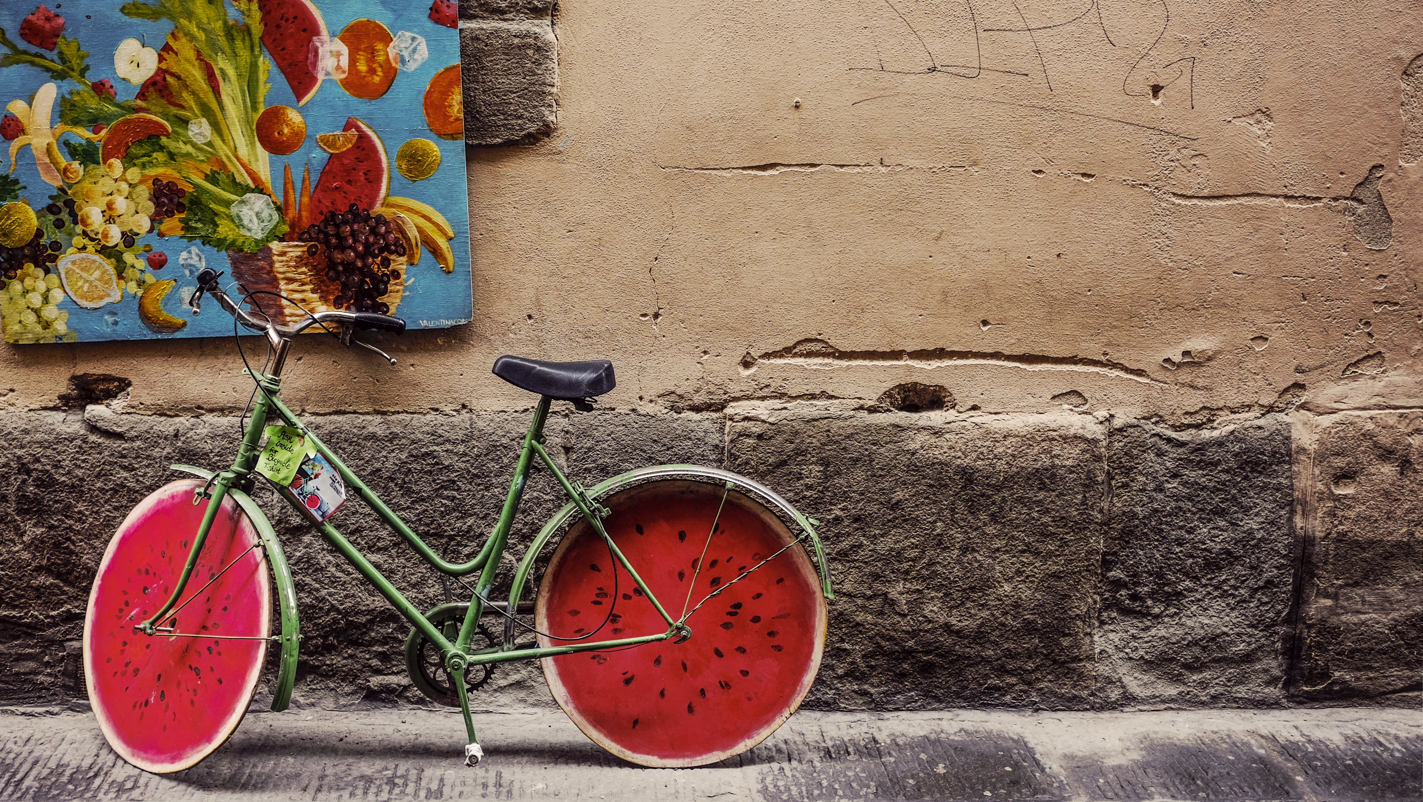 Bicycle Decorated with Watermelon Wheels