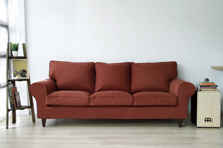 IKEA Ektorp Sofa with Custom Slipcovers and Stained legs