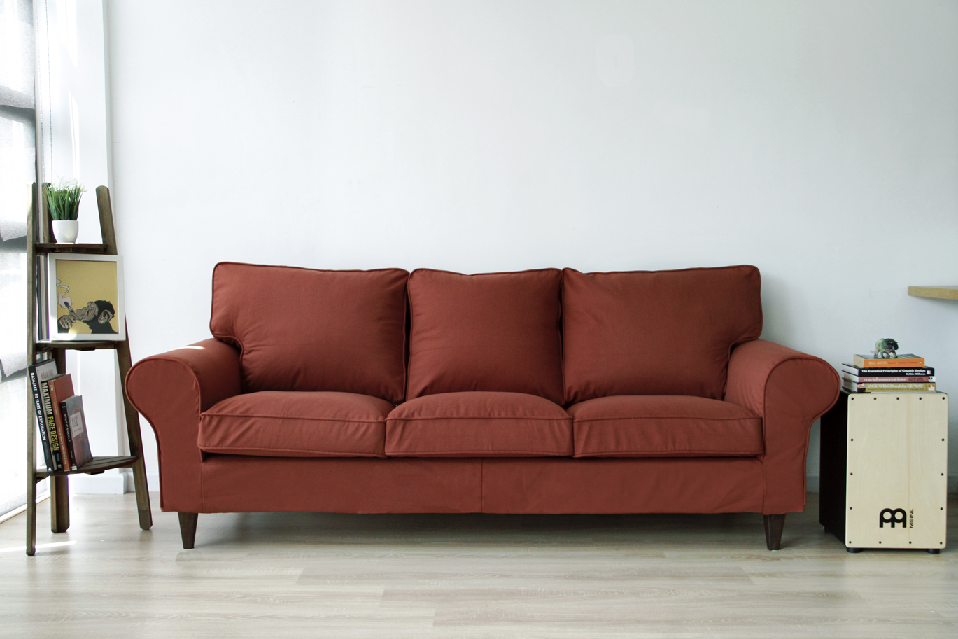 IKEA Ektorp Sofa with Custom Slipcovers and Stained legs