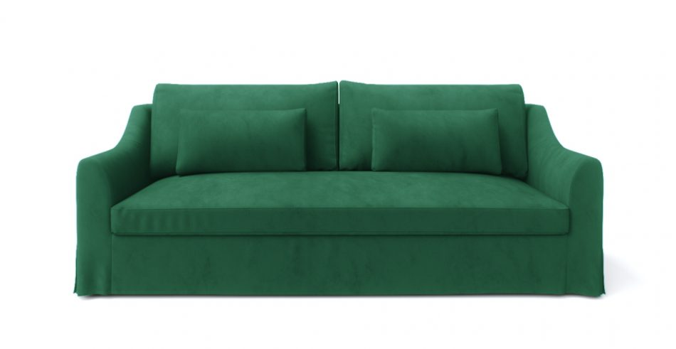 Custom replacement Farlov sofa covers in velvet Emerald by Comfort Works