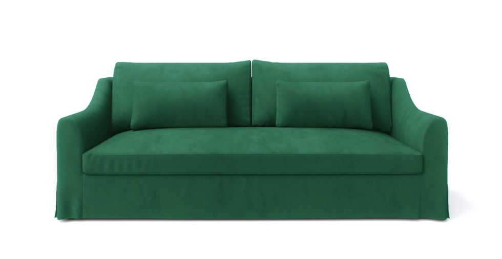 Custom replacement Farlov sofa covers in velvet Emerald by Comfort Works