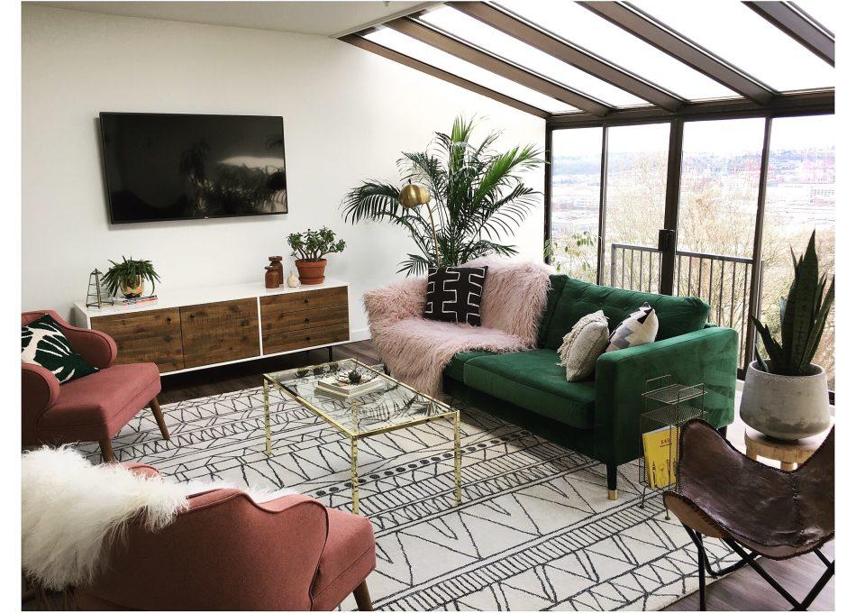 Karlstad sofa in Rouge Emerald fabric