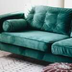 Karlstad Slipcovers in Rouge Emerald fabric with piping by Comfort Works