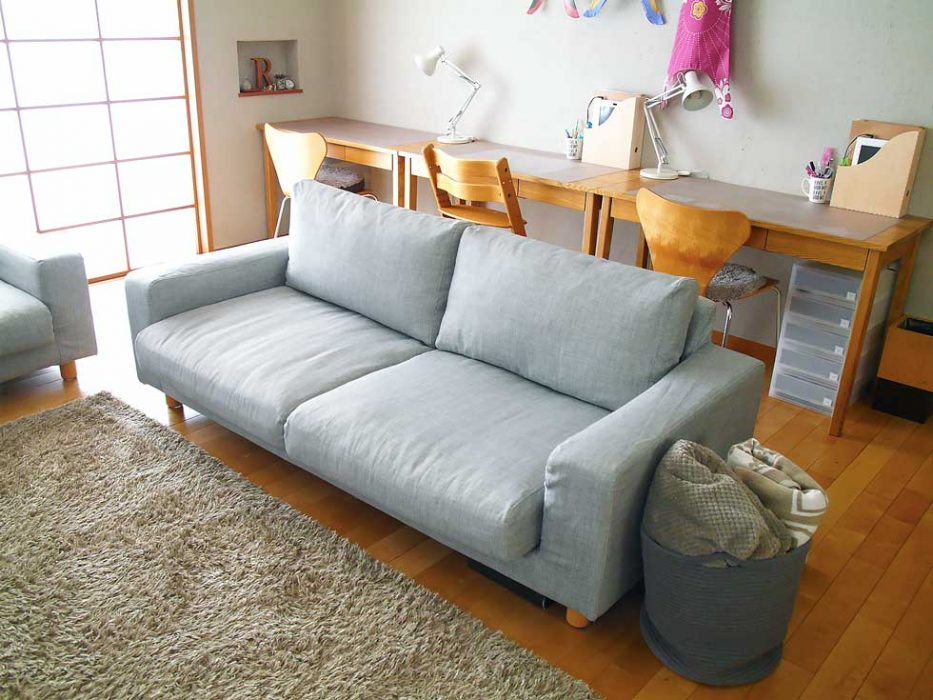 Comfort Works Slipcovers For Muji Wide Arm Sofa 2016 S Model In Light Grey Fabric Kino Ash