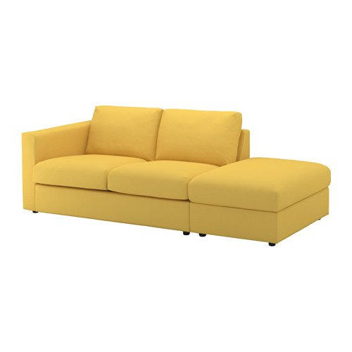 Picture of a yellow IKEA Vimle sofa with open end