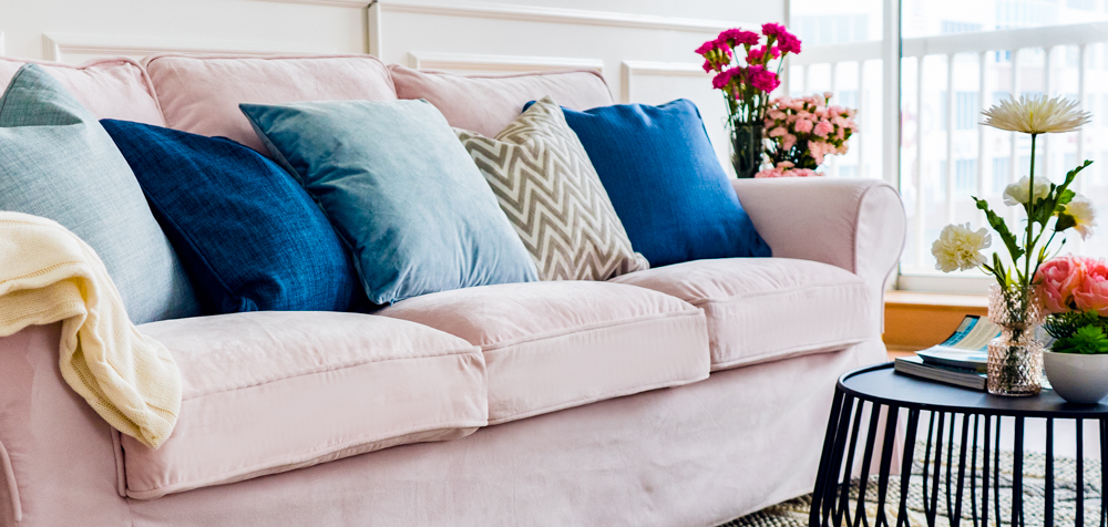 Ektorp Sofa cover in Rough Blush velvet