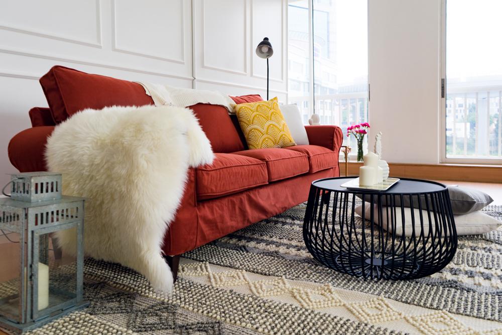 Wool throw on Ektorp sofa
