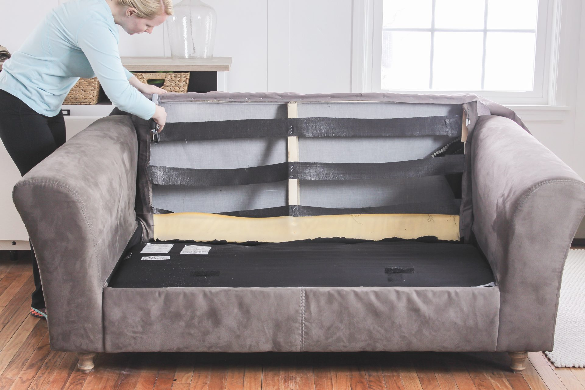 how to fix a sagging couch restore cushions comfort works rh blog comfort works com sagging sofa support home depot sagging sofa support board