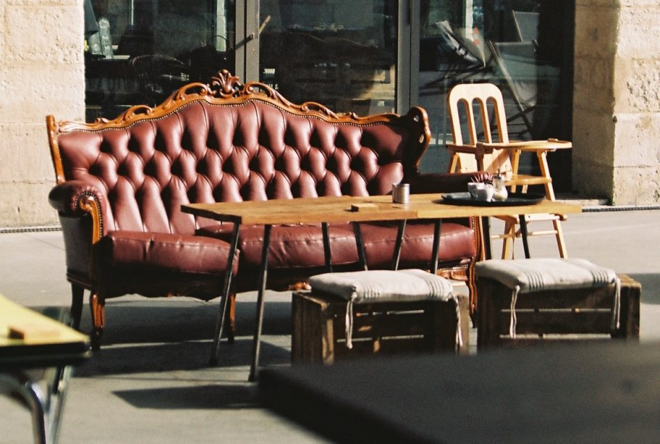 Leather sofa under the sun