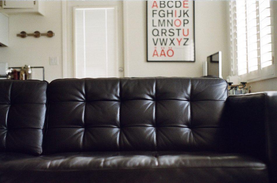 Black Leather Karlstad Sofa