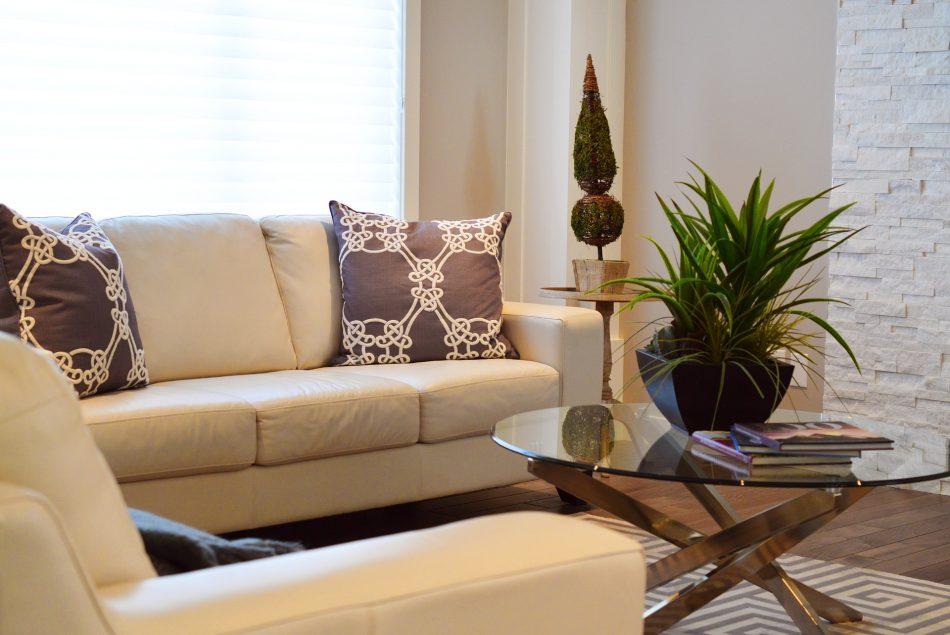White Leather Sofas in elegant living room