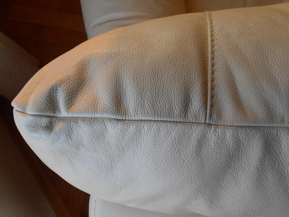 White Leather Sofa Cushion