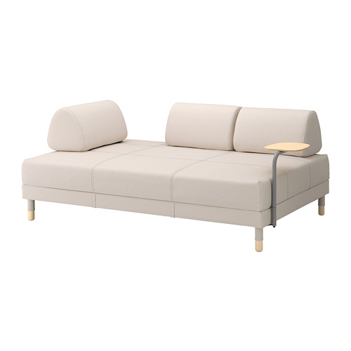 IKEA Flottebo Sleeper Sofa in Loffalet Beige with a side table[