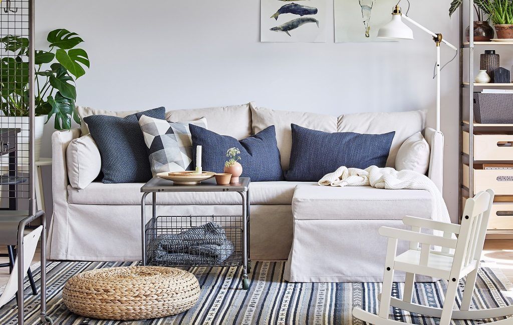 IKEA Sandbacken Sectional with Contrast Pillows