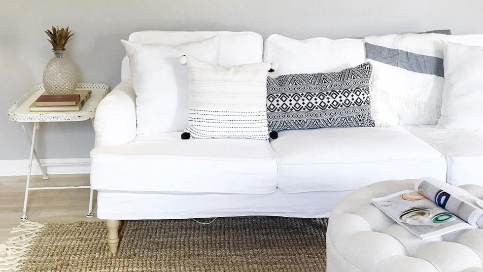 Stocksund 3 seater sofa with our Gaia White slipcovers