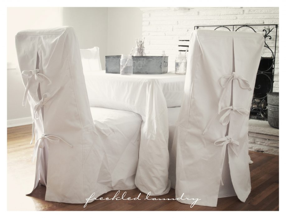 Dining Chair Covers with Skirt and Bow Detail