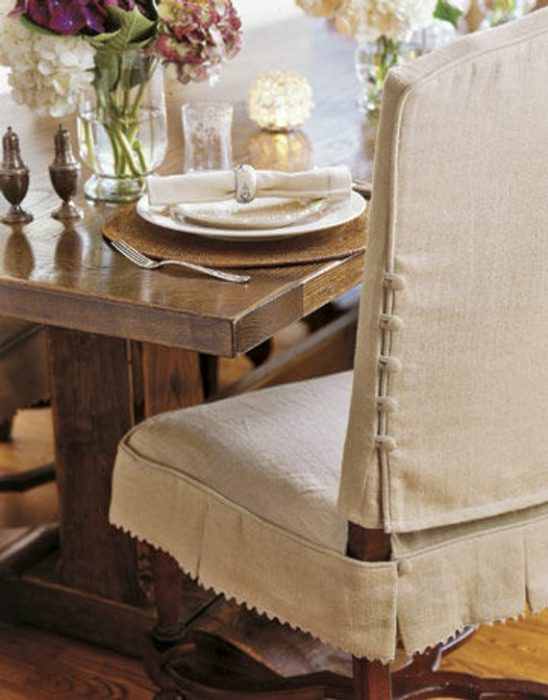 Dining Chair Covers with Button Detail