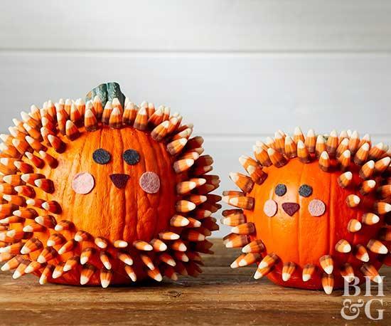 Halloween Decor Ideas - No-Carve Hedgehog Pumpkin